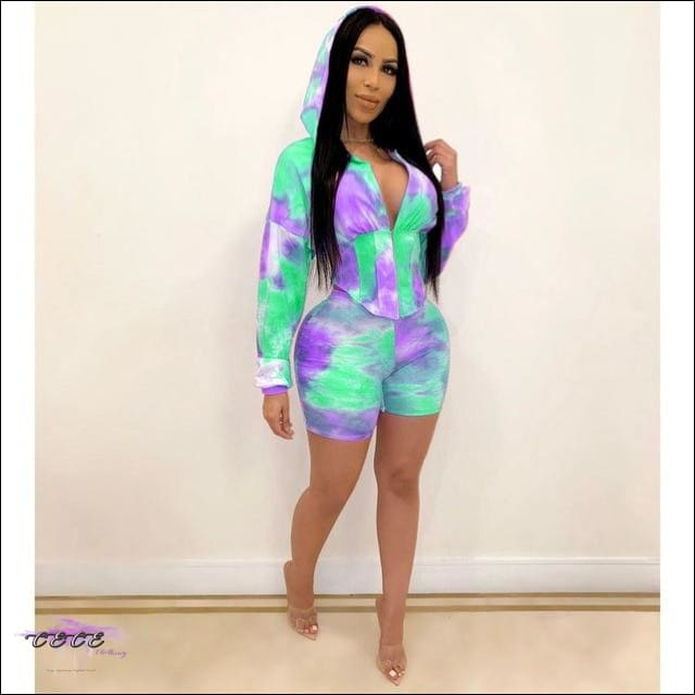 Adogirl Tie Dye Print Waist Shaping Two Piece Set Leisure Sporting Suit Long Sleeve Hooded Crop Top purple mint / S