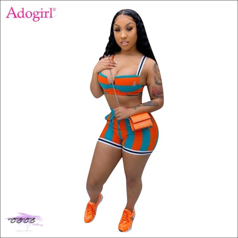 Adogirl Women Stripe Two Piece Set Strapless Spaghetti Straps Crop Top Shorts Fitness Tracksuit