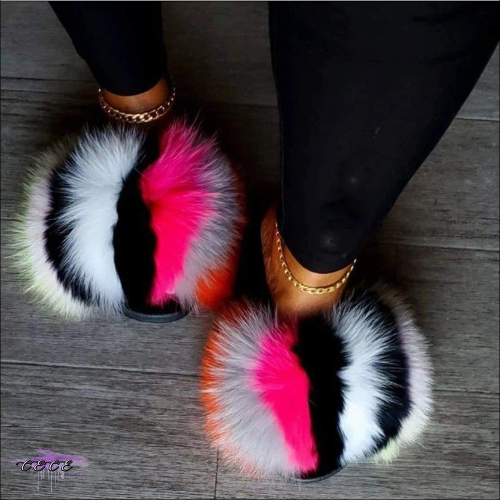 'Sweet Like Coconut' Comfy Colorful Faux Fur Sandals