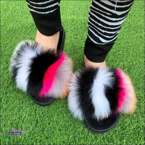 'Sweet Like Coconut' Comfy Colorful Faux Fur Sandals 11