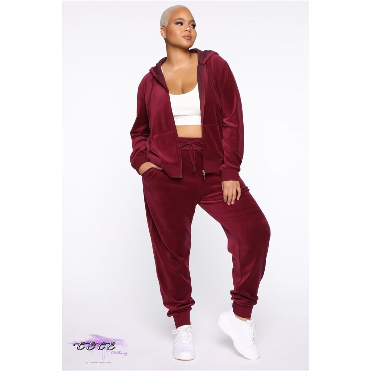 Tasty As Red Velvet Cake Two Piece Red Velour Tracksuit 2X