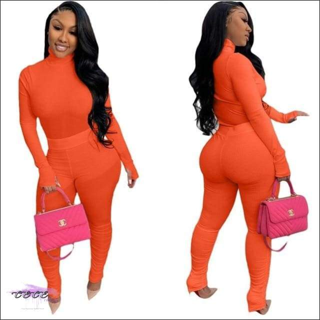 'Tasty From Head To Toe' Two Piece Knitted Pleated Tracksuit orange / S / United States
