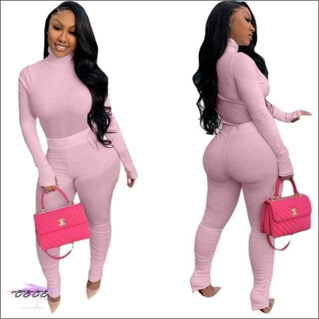'Tasty From Head To Toe' Two Piece Knitted Pleated Tracksuit pink / M / United States