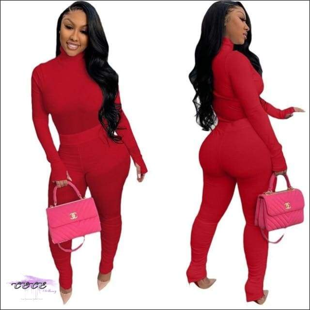 'Tasty From Head To Toe' Two Piece Knitted Pleated Tracksuit red / L / United States