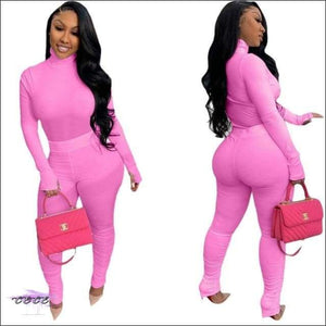 'Tasty From Head To Toe' Two Piece Knitted Pleated Tracksuit rose red / S / United States