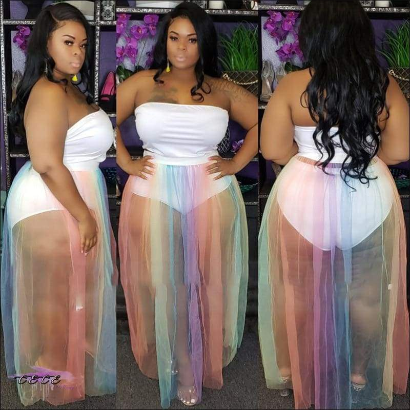 'Tasty Rainbow' Two Piece Sheer Skirt Dress 1X