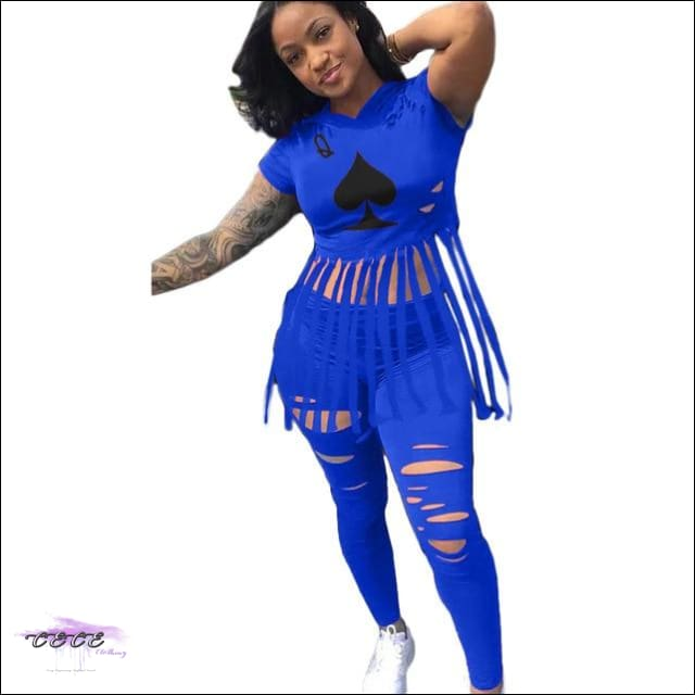 'The Queen Of Spade' Ripped Two Piece Set blue 2 piece set / 2X / United States