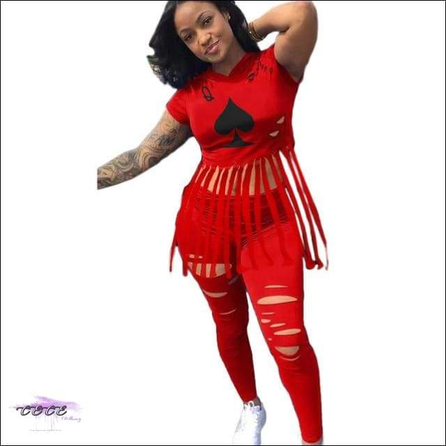 'The Queen Of Spade' Ripped Two Piece Set red 2 piece set / 2X / United States
