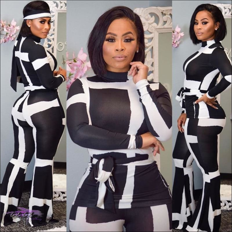 These Curves Are Dangerous Two Piece Long Sleeve Sash Jumpsuit