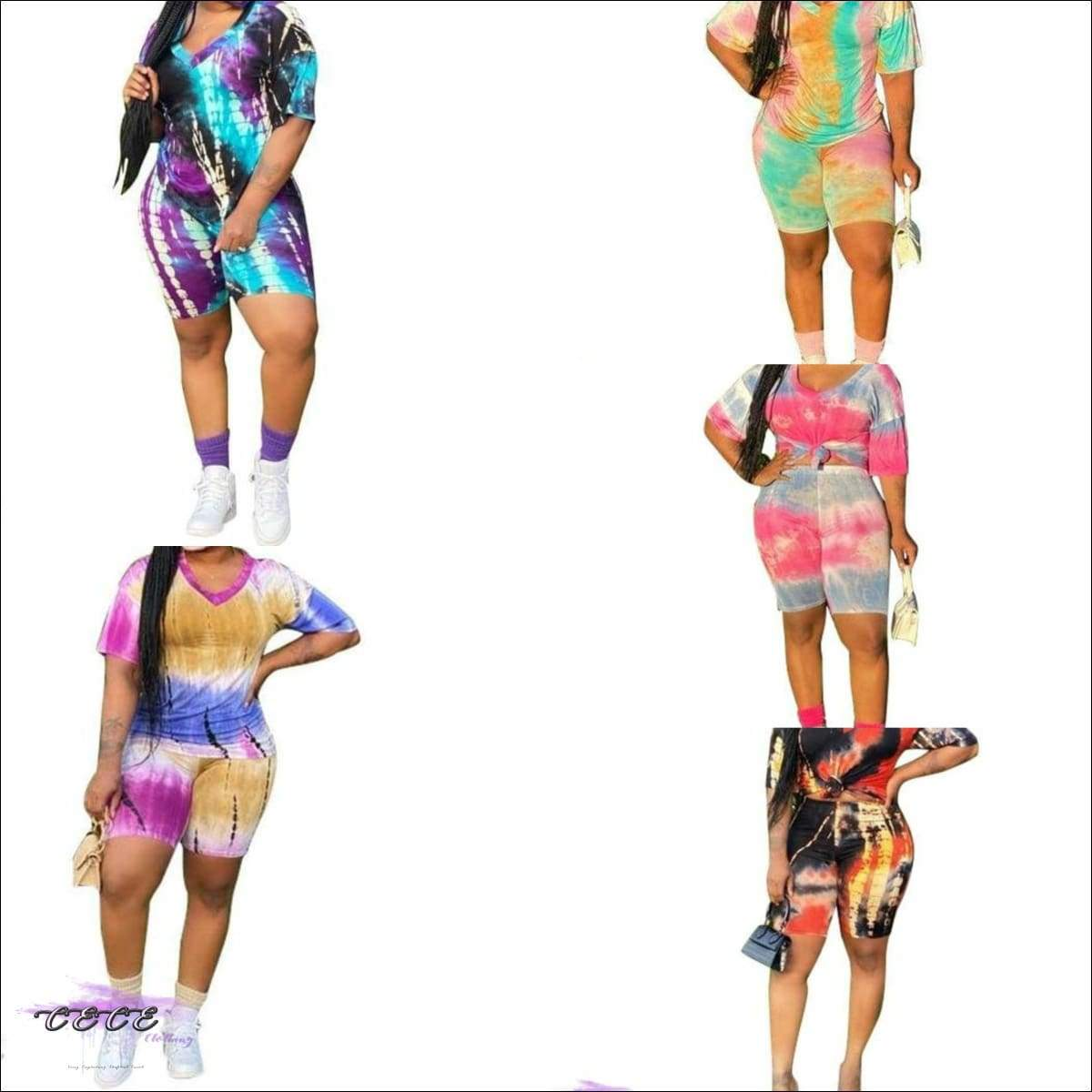 'These Curves Stay Fly' Tie Dye Two Piece Set