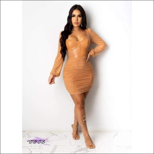 'These Curves Stop Traffic' PU Leather Sheer Mesh Pleated Mini Dress brown dress / S / United States
