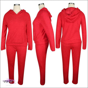 'Thick & Plush' Two Piece Cashmere Tracksuit red / 4X