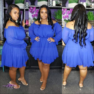 Thick-Wit-It Off-Shoulder Slash Dress Blue / 5X