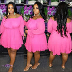 Thick-Wit-It Off-Shoulder Slash Dress Pink / 5X