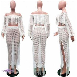 Ultra Sexy Fishnet Tassel Knitted Two Piece Set