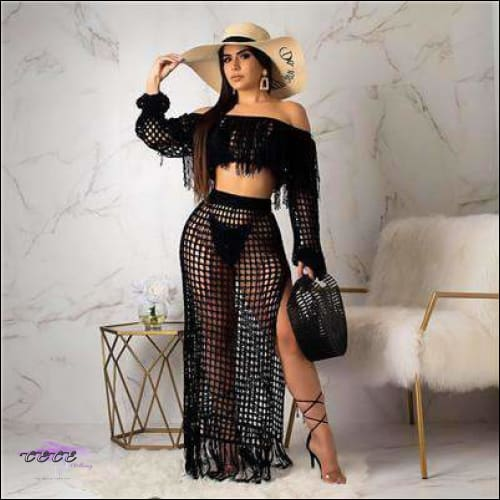Ultra Sexy Fishnet Tassel Knitted Two Piece Set Black / S