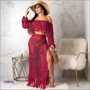 Ultra Sexy Fishnet Tassel Knitted Two Piece Set Burgundy / S