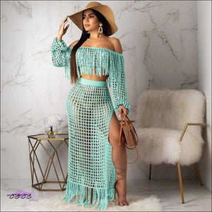 Ultra Sexy Fishnet Tassel Knitted Two Piece Set Mint / S