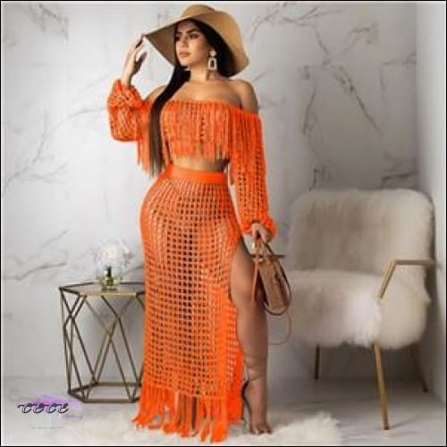 Ultra Sexy Fishnet Tassel Knitted Two Piece Set Orange / S