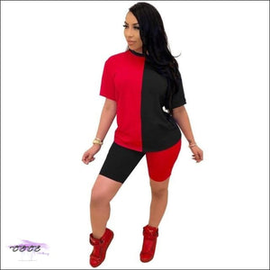 'Ying Yang Curves' Two Piece Set Tracksuit black red / S