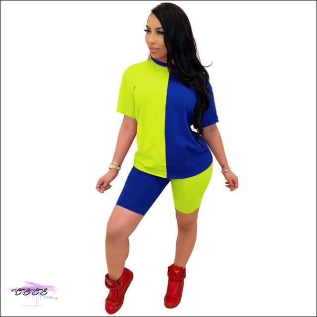 'Ying Yang Curves' Two Piece Set Tracksuit blue green / S