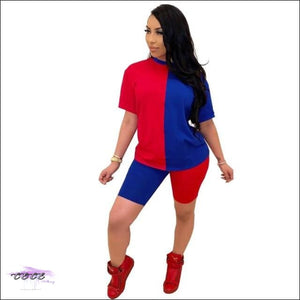 'Ying Yang Curves' Two Piece Set Tracksuit blue red / S