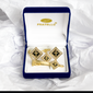 Diamond shape Cubic Gold Colored Cross Cuff Links Black background - Trinity Robes