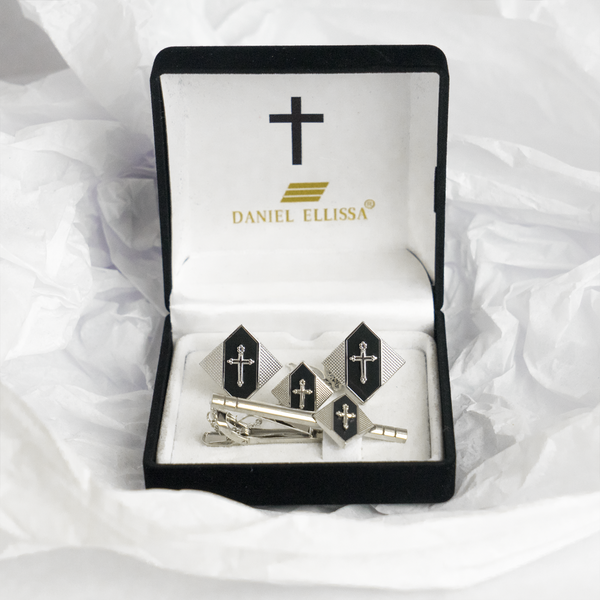 Diamond shape Silver Colored Cross Cuff Links Black background - Trinity Robes