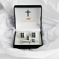 Square shape Silver Colored Cross Cuff Links Black background - Trinity Robes