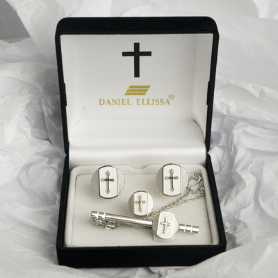 Circle shape Silver  Colored Cross Cuff Links White background - Trinity Robes