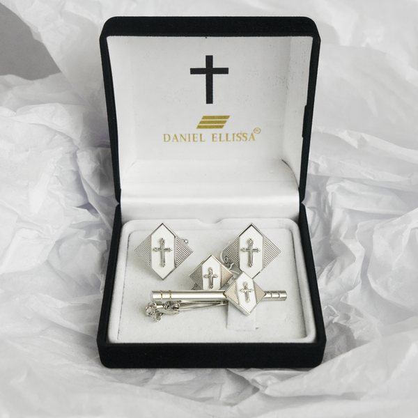 Diamond shape Silver  Colored Cross Cuff Links White background - Trinity Robes