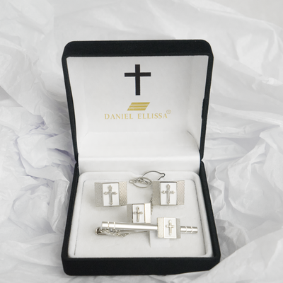 Square shape Silver  Colored Cross Cuff Links White background - Trinity Robes