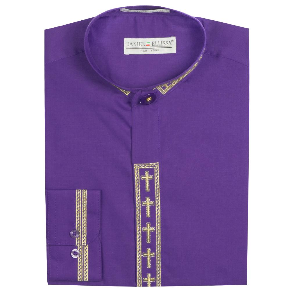 Clerical Clergy Shirt Long Sleeve Collarless Cross Collar Placket - Trinity Robes