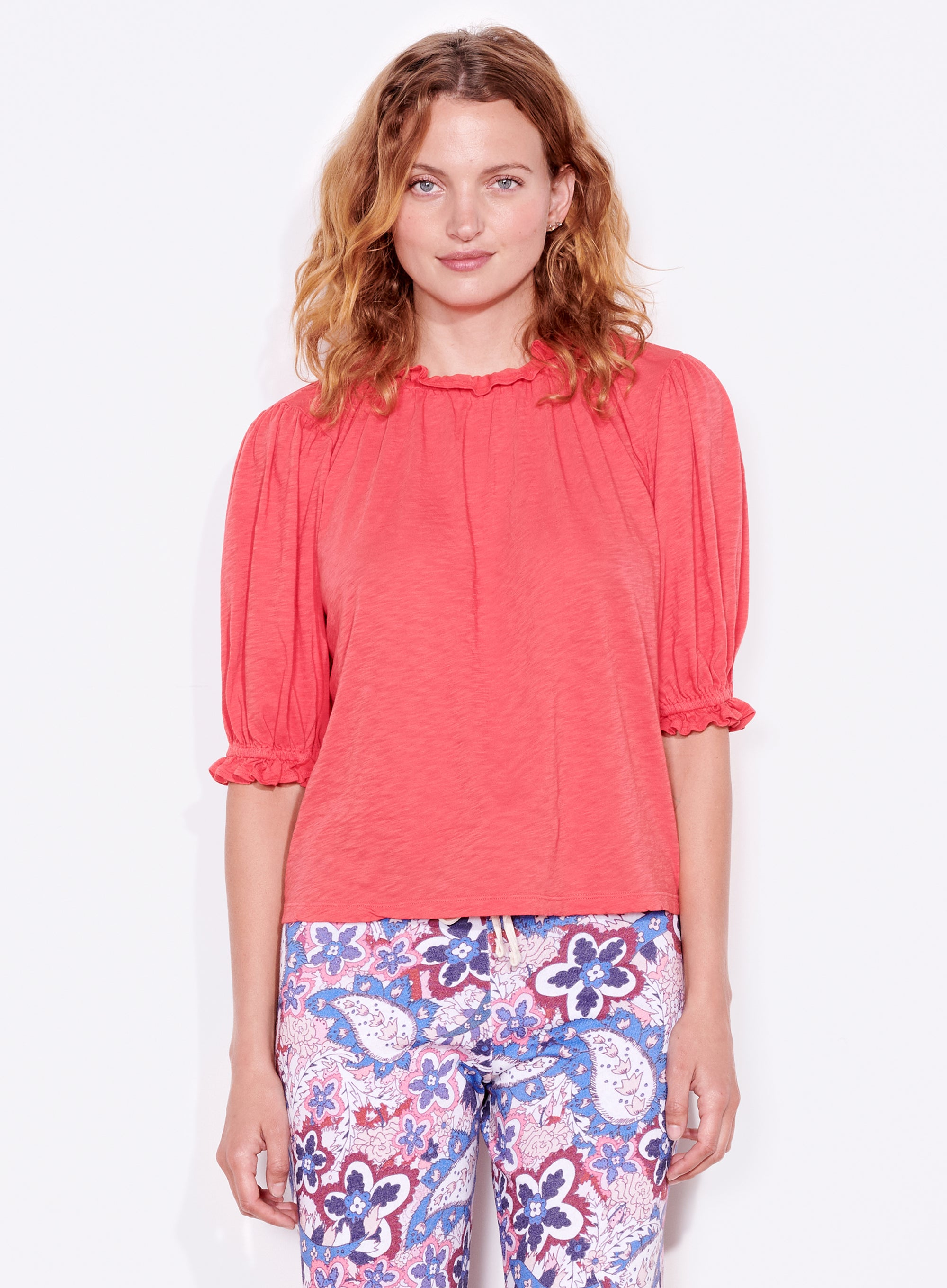 Bubble Sleeve Top - Hibiscus