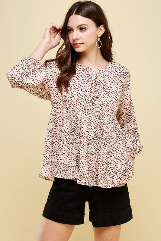 LS Leopard Printed Top - Blush