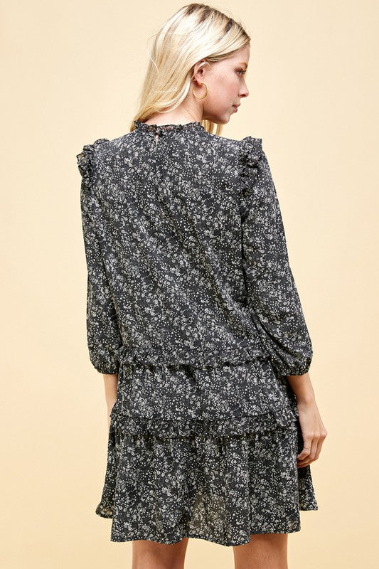 Mock Neck Dress - Blk Floral