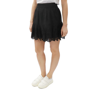 Eyelet Mini Skirt - Black