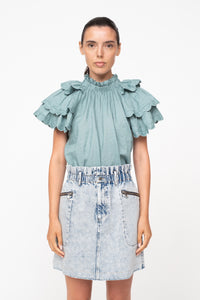 Shannon Scallop SS Top - Sky
