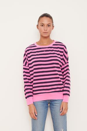 Navy Stripe Sweatshirt - Pink