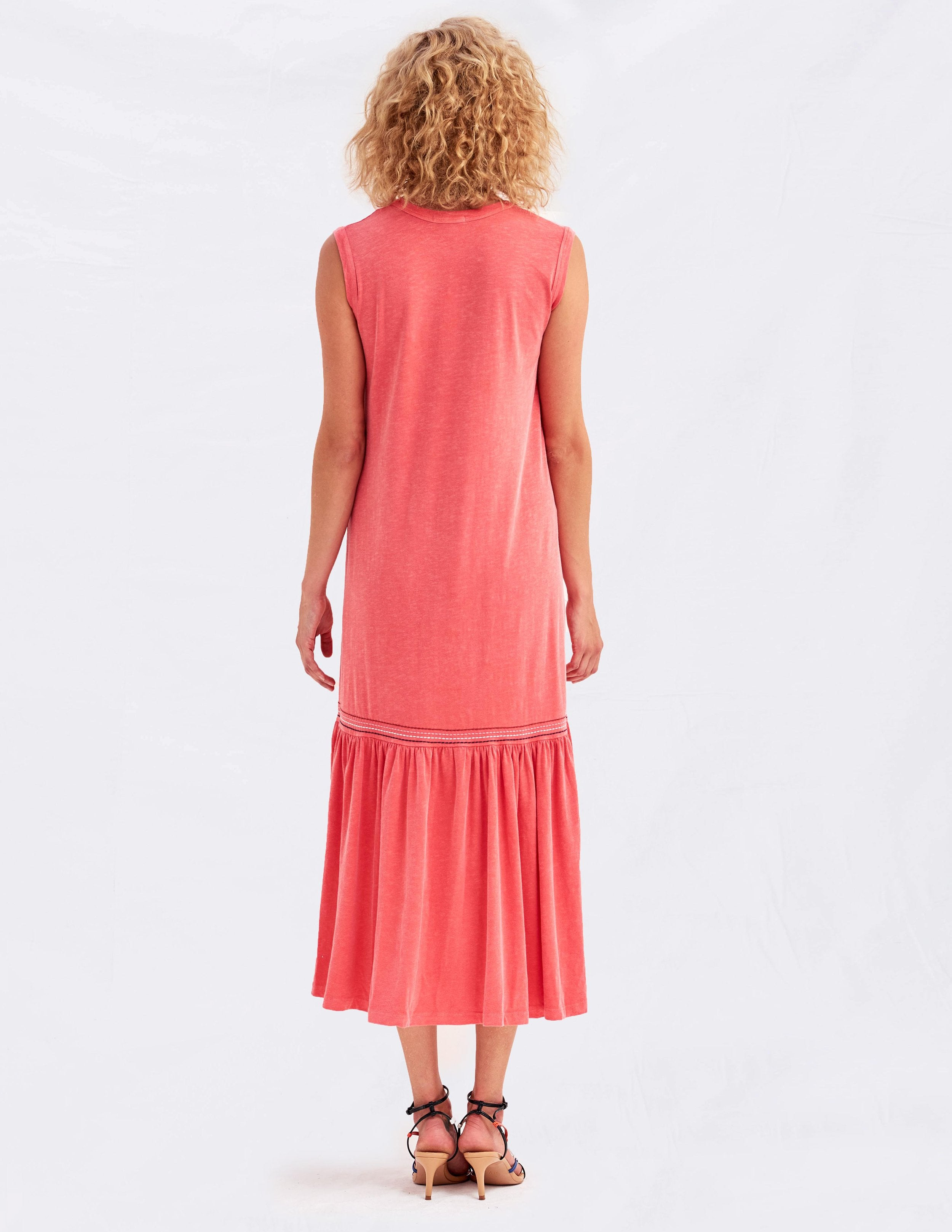 Embroidered Tank Dress - Pigment Hibiscus