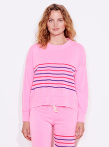 Stripes Oversized Sweatshirt - Neon Pink