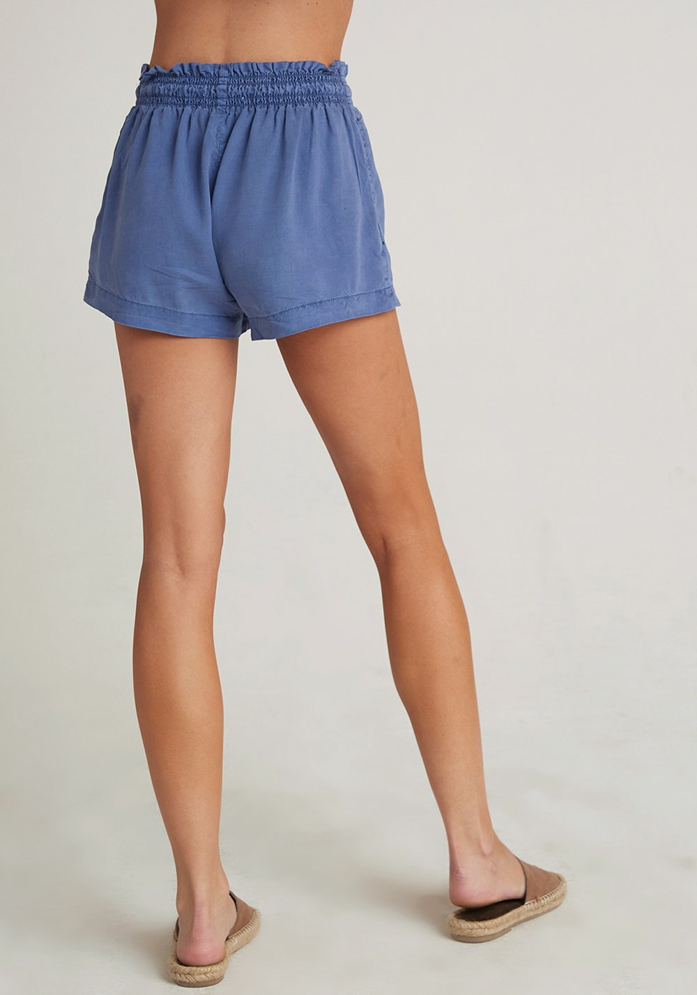 Ruffle Waist Short - Washed Indigo