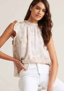 Mock Neck Ruffle Top - Khaki