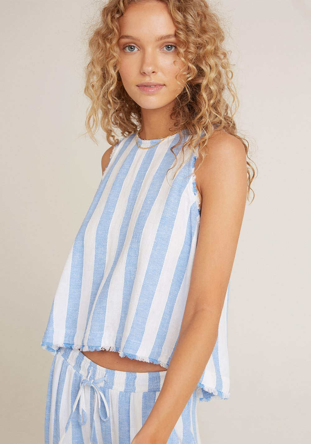 Fray Swing Button Back Top - Sky Blue