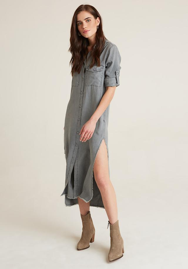 Maxi Shirt Dress Gunmetal