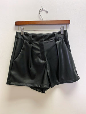 Black Vegan Leather Short