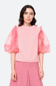 Pink Nuria Organza Sleeve Sweater