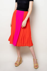 Color Blocked Pleated Skirt