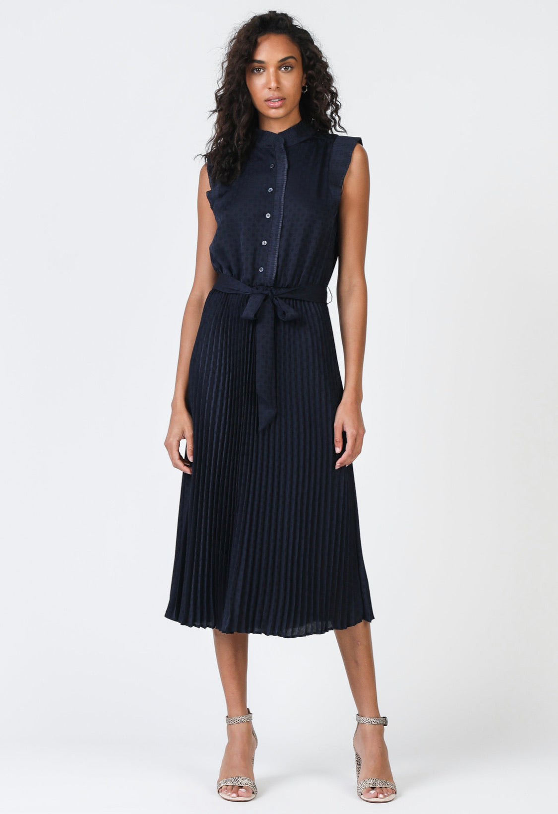 Sleeveless Midi Length Pleated Dress - Navy Dot
