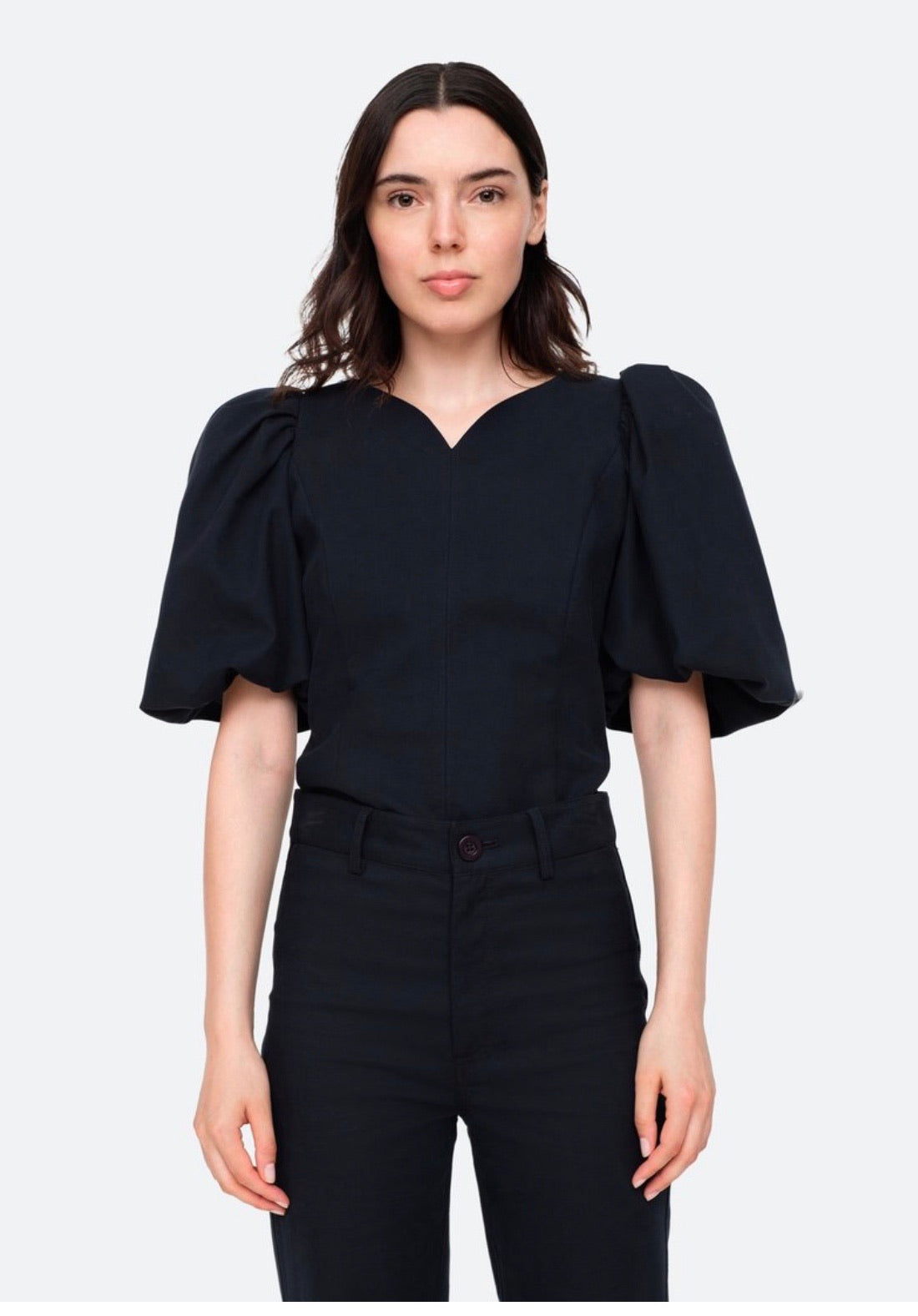 Bubble Sleeve Top In Black